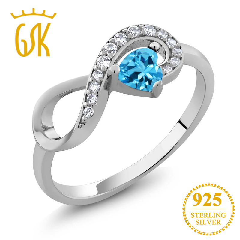 10c2162cf32d7 GemStoneKing Fashion Twist Ring For Women 0.46 Ct Oval Genuine Blue ...