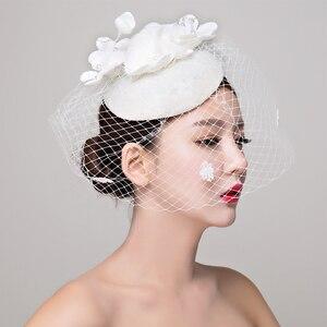Image 1 - הכלה סטודיו תמונה כיסוי ראש תחרה פשתן רדוד לבן כובע שיער קישוטי חתונה שמלת אביזרי נשים fasinator כובע שיער קליפ