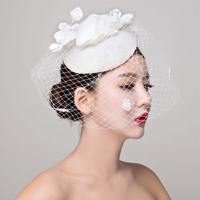 הכלה סטודיו תמונה כיסוי ראש תחרה פשתן רדוד לבן כובע שיער קישוטי חתונה שמלת אביזרי נשים fasinator כובע שיער קליפ