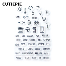 цена на Weather Medicine Words Transparent Clear Stamps DIY Silicone Seals for Scrapbooking/Card Making/Photo Album Stamp Template Sheet