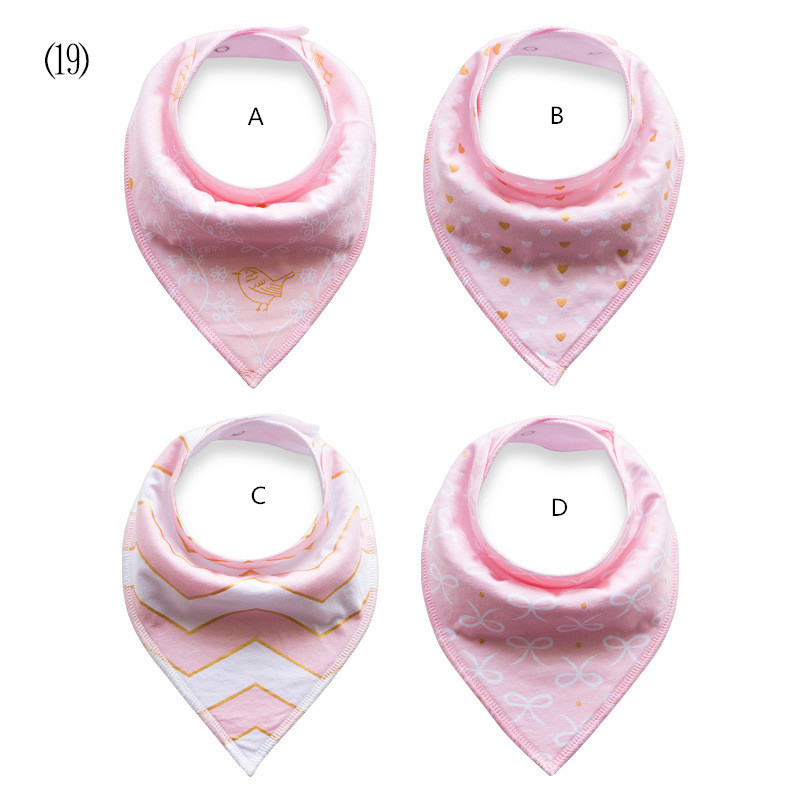 pink princess bibs / gold bird +gold knotbow +chevron print + gold heart Bandana Bibs princess girl / 4pcs/set