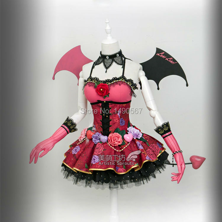 Love Live Honoka Kotori Umi Eli Nozomi Maki Rin Hanayo Nico Devil ver cos Dress Cosplay Costume Halloween costume demon in Anime Costumes from Novelty Special Use