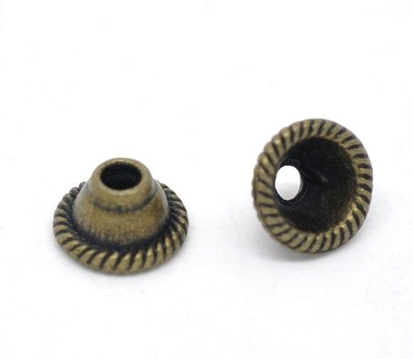DoreenBeads Zinc Metal Alloy Beads Caps Cube Antique Bronze(Fits 14mm Beads)Pattern Pattern 8mm(3/8