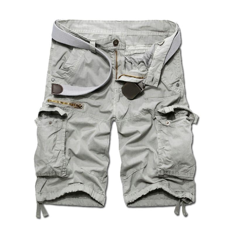 205 Лето Новое поступление мужские Брюки-карго Дизайнерские однотонные брюки-карго bermuda masculina Размер 29-38 AK06 - Цвет: gray