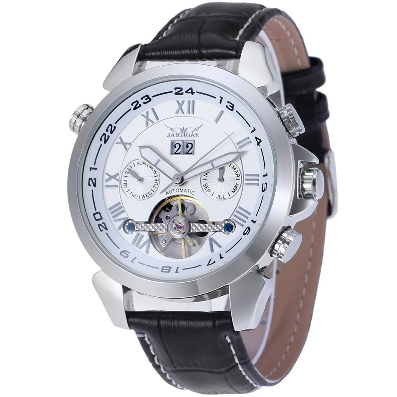 Fashion Tourbillion Watch Luxury Military Mens Automatic Mechanical Date Day Leather Strap Hollow Wrist Watches Clock Relogio original binger mans automatic mechanical wrist watch date display watch self wind steel with gold wheel watches new luxury