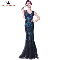 New Arrival 2017 Banquet Luxury Long Evening Dresses Robe De Soiree Satin Phoenix Lace Crystal Party