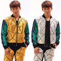 2016 New Novelty Men's Fashion sequins Laser Leather jacket pants Nightclub Male singer dancer stage show performance wear