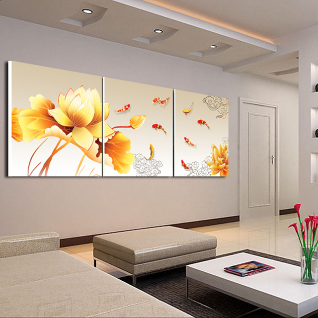 3Piece Canvas Wall Art Koi Fish Modern Office Painting Meeting Room Decoration Fashion