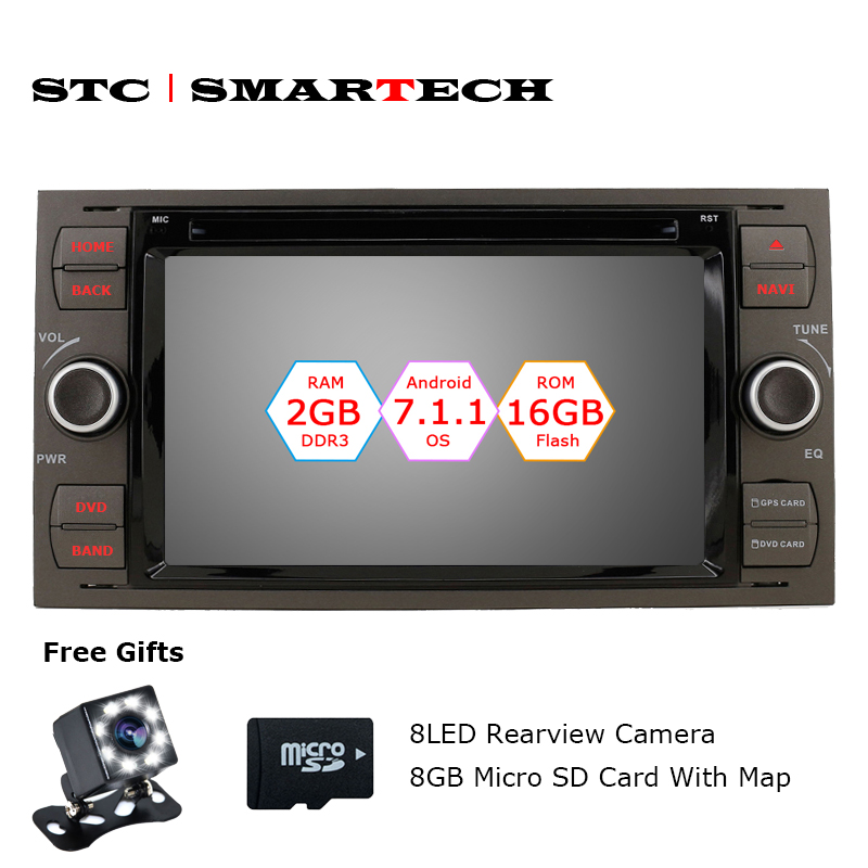 SMARTECH 2 Din Android 7.1.2 OS Car DVD Player GPS Navigation for Ford Mondeo Focus Focus2 Transit C-MAX S-MAX Car Stereo Radio