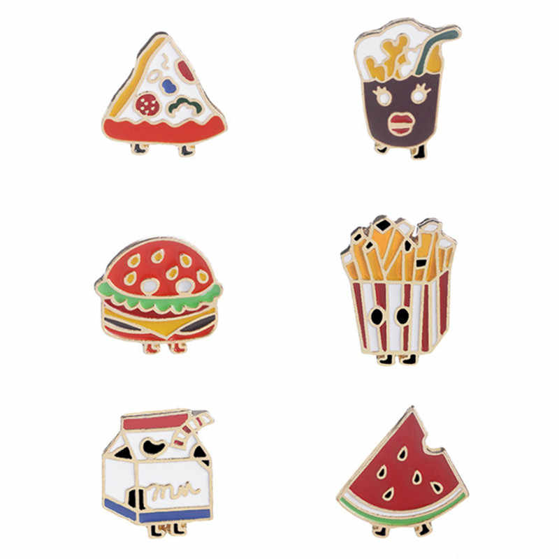 6 Pcs/set Kentang Goreng Cola Susu Semangka Hamburger Pizza Bros Baru Tombol Pins Set Keras Enamel Jarum Lencana Makanan