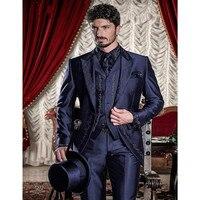 2018 индивидуальный заказ Вышивка мужской костюм комплект смокинг для жениха (куртка + брюки + жилет) темно синий женихов Для мужчин костюмы дл