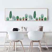 Green Plant Cactus Leaf Sea Sailboat Wall Art Canvas Painting Nordic Poster And Prints Picture For Living Room Long Banner