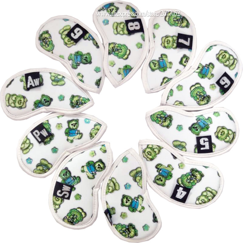 Cooyute Golf Irons Head Covers 9PCS(3~9P A S ) White Simple Style Waterproof PU Unisex Golf Headcover Free Shipping