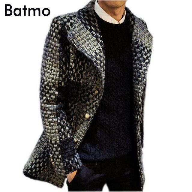 2017 зимнее пальто Мужчины однобортный Мужчины Верхняя Одежда плед Повседневная Пальто мужская Ветровка Мужчины Пальто