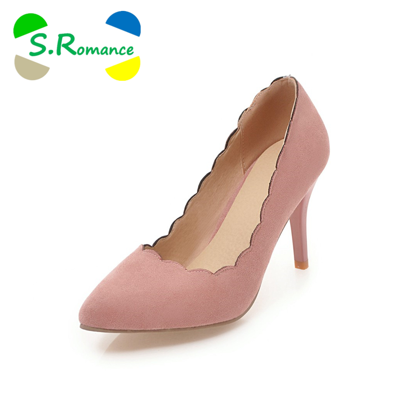 S romance talla grande 34 43 mujeres bombas moda punta puntiaguda coloridos tacones altos Zapatos mujer negro Rosa Beige amarillo SH625-in Zapatos de tacón de mujer from zapatos    1