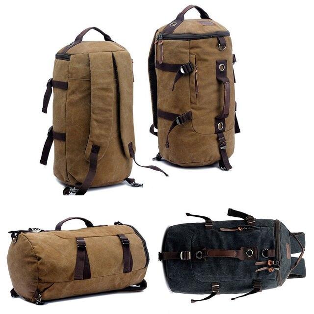 Mens Canvas Backpacks 32L Extra Large Travel Bag Rucksack Backpack Men Shoulder Bags Bookbag Double Use