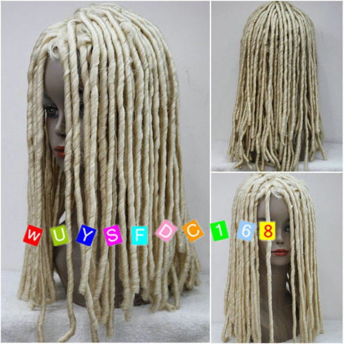 Hot heat resistant free shipping>>>>>>>>>>>>>>Dreadlock Style Full Wigs Long Curls Rolls Hair Drama Cosplay Blonde Party Wig lolita style trendy side bang white long wave heat resistant synthetic capless cosplay wig