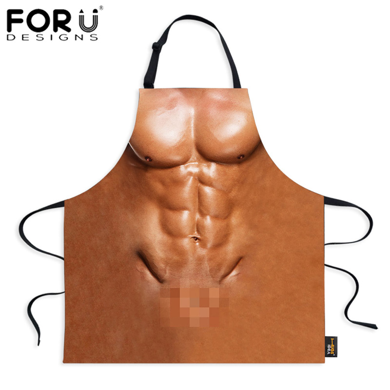 FORUDESIGNS <font><b>Sexy</b></font> Naked <font><b>Apron</b></font> <font><b>Kitchen</b></font> <font><b>Aprons</b></font> Funny Women Men Cooking BBQ <font><b>Apron</b></font> Novelty Waterproof Cleaning 3D Printed <font><b>Apron</b></font> Retro image