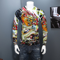Chinese Style Dragon Print Sweater Fashion V Neck Slim Fit Long Sleeve Knitted Men Pullovers Bottoming Sweaters Pull Homme 4XL-M