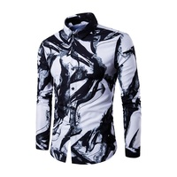 2017 casual mannen shirt hawaiian mens lange mouwen sociale shirts Jurk link Wilde print Zakelijke Stijl wit slim fit streetwear