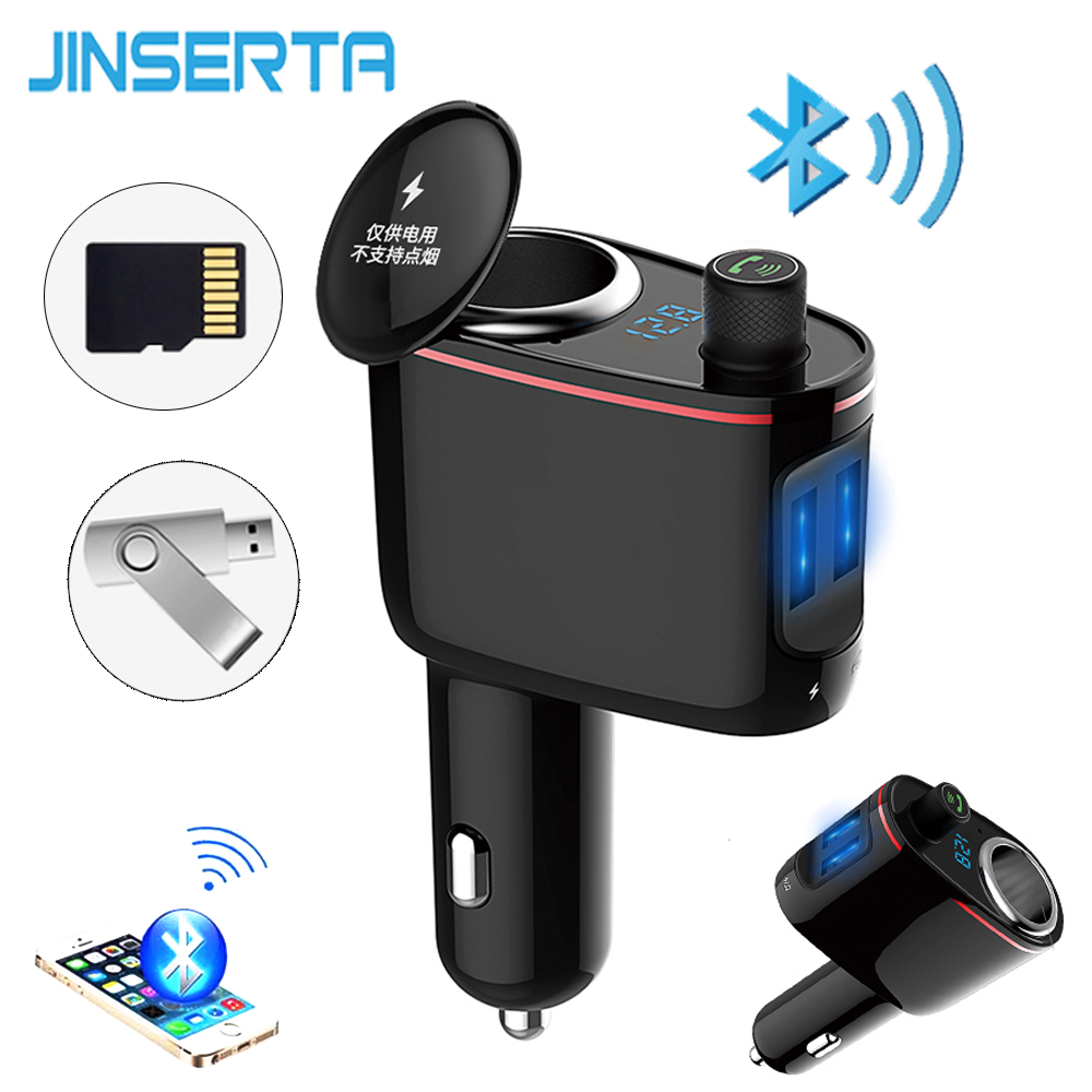 JINSERTA Bluetooth FM Transmitter Car Music MP3 Player Hands Free Car Kit Cigarette Lighter Power Adapter Splitter USB Charger