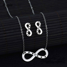 Eleple Simple 8 Zircon Inlaid Stainless Steel Earring Necklace Set Classic Party Gifts Jewelry Sets for Women Wholesale S-S013