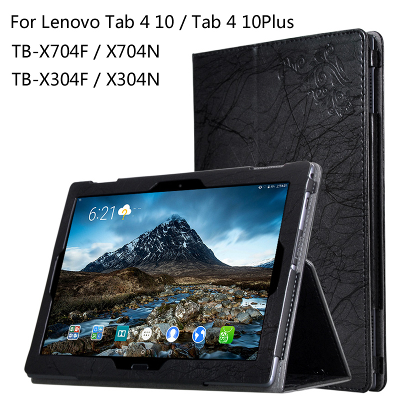 Print Flower Leather Case For Lenovo TAB 4 10 / 10 Plus TB-X704F/N X304F/N 10.1 inch Tablet Printing Pattern Stand Cover + Gift цена 2016