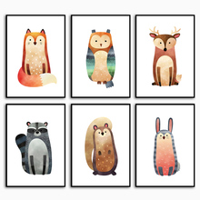 Fox Owl Elk Rabbit Raccoon Nordic Posters And Prints Wall Art Canvas Painting Animals Pictures Baby Kids Room Decor