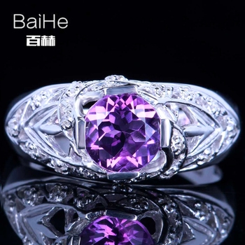 BAIHE Sterling Silver 925 1.3CT Certified Purple Flawless Round Genuine Amethyst Anniversary Women Classic Fine Jewelry Ring