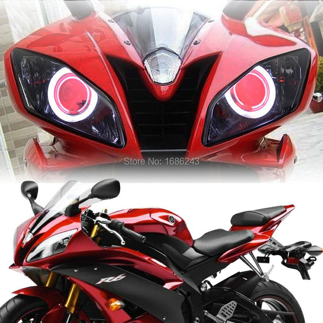 HID White Angel Red Demon Eyes Projector Headlight For Yamaha YZF R6