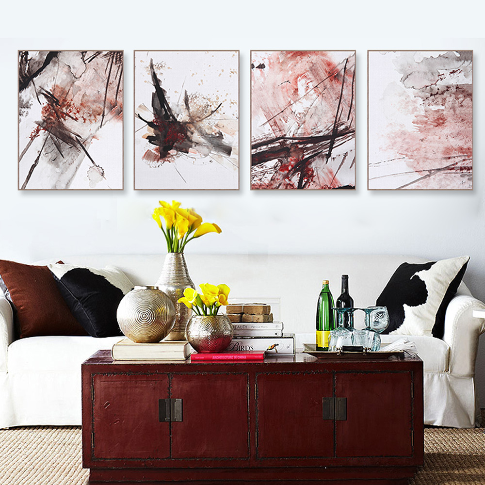 Big Canvas Art Modern Watercolor Abstract Ink Splash Big: NEW Nordic Minimalist Multi Colors Abstract Canvas