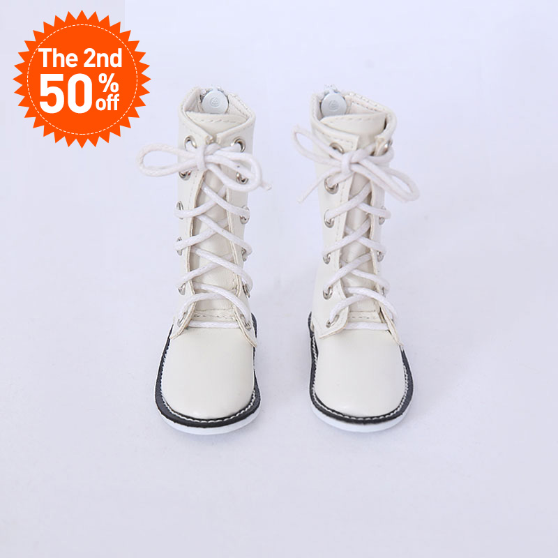 <font><b>Shoes</b></font> For <font><b>BJD</b></font> <font><b>Doll</b></font> 1 pair 6.5cm PU Leather Boots Fashion Mini Toy Lace Canvas <font><b>Shoes</b></font> <font><b>1/4</b></font> <font><b>Doll</b></font> for Fairyland Luts <font><b>Doll</b></font> Accessories image