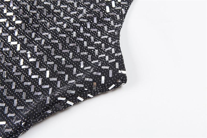 Forefair Summer Mini Sequin Dress Clubwear Party Black Off Shoulder (12)