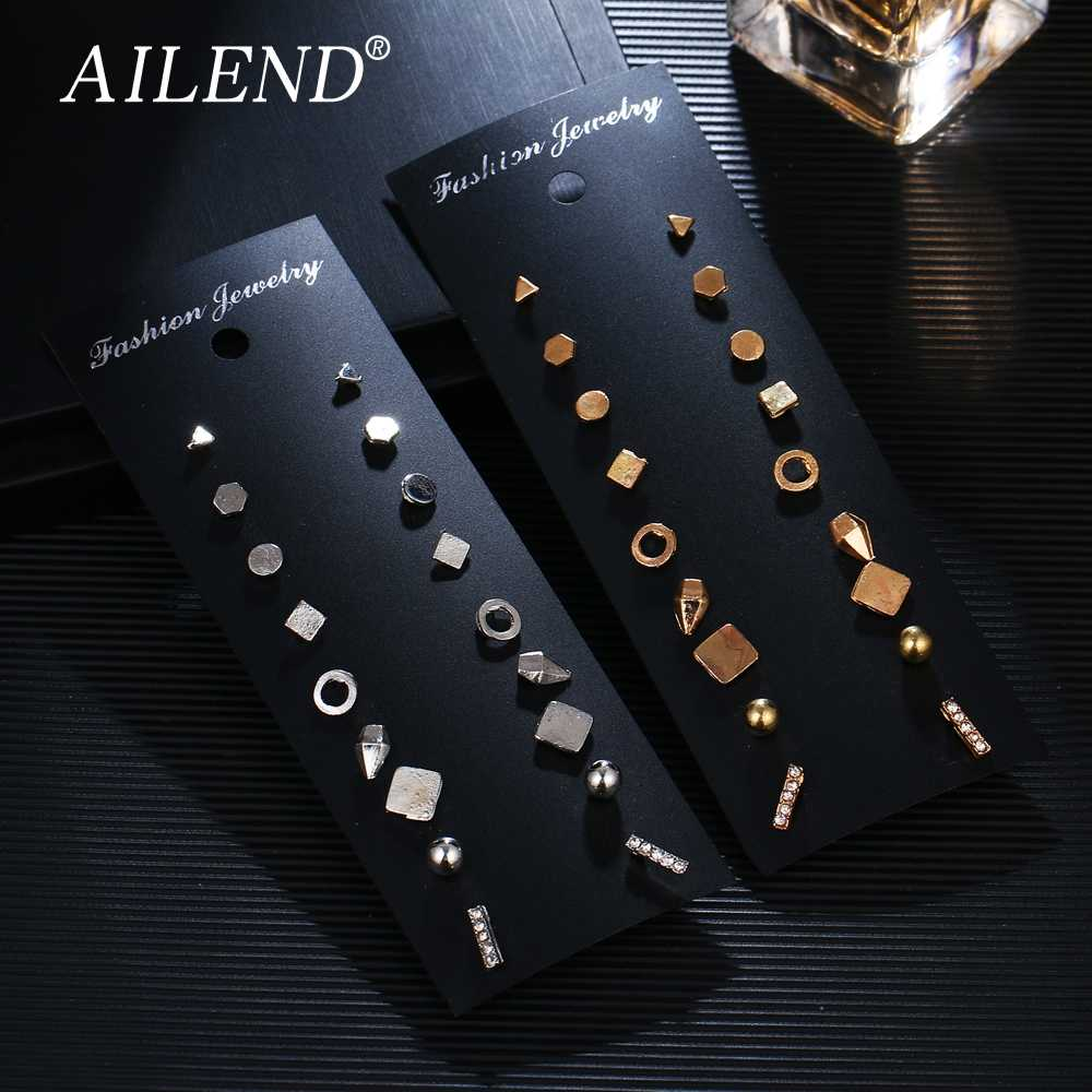 AILEND 9 Pairs / Set Brincos Geometric Crystal Earrings Brooch Piercing Gold Color New Fashion Earring For Women Bijoux Jewelry