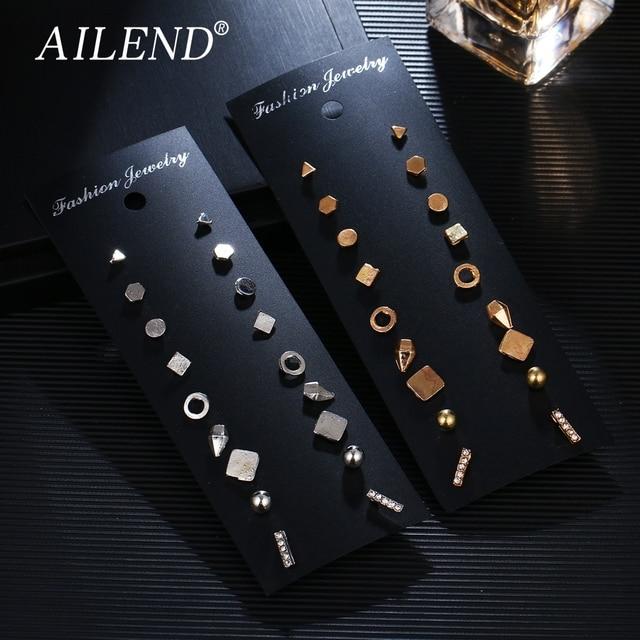 AILEND 9 זוגות\סט Brincos גיאומטרי קריסטל עגילי סיכת פירסינג זהב צבע חדש אופנה עגיל לנשים Bijoux תכשיטים