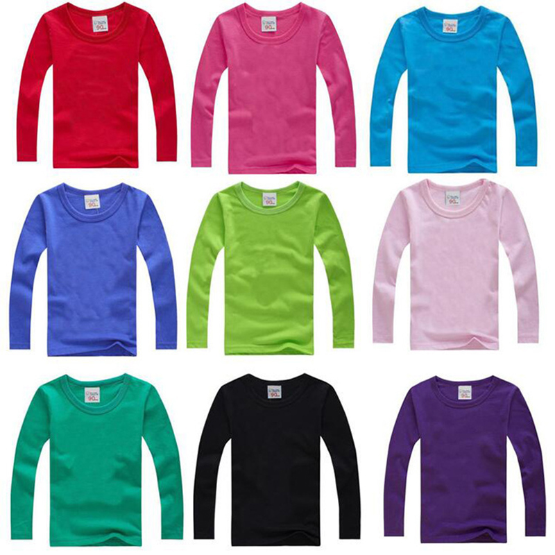 Boys Long Sleeve T Shirts For Children 2019 Autumn pure color T-shirt Cotton 1 -15T Kids Clothing Baby Girls Tops Tees Clothes