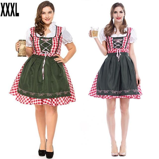 più recente f1a9d ab171 US $22.54 8% di SCONTO|Donne di età Oktoberfest Cameriera Fraulein Wench  Heidi Costume Bavarese Dirndl Plaid Lace Up Grembiule Festa Vestito Vestito  ...