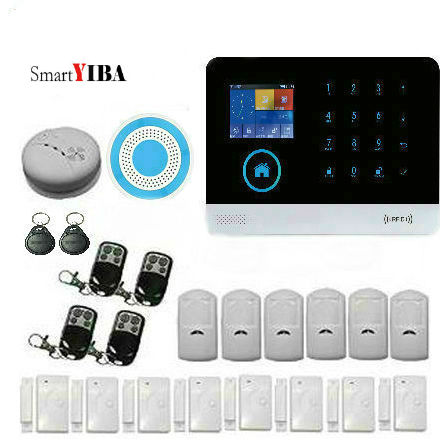 SmartYIBA WIFI GSM SMS House Burglar Intruder Alarm System withEmergency Button Smoke Detector support IOS/Android Apps Control