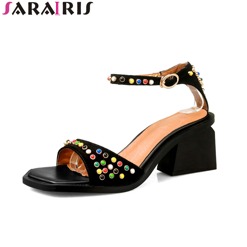 SARAIRIS 2019 brand kid suede leather colorful rivets shoes women Summer Sandals Fashion High Heels Shoes Woman party ShoesSARAIRIS 2019 brand kid suede leather colorful rivets shoes women Summer Sandals Fashion High Heels Shoes Woman party Shoes