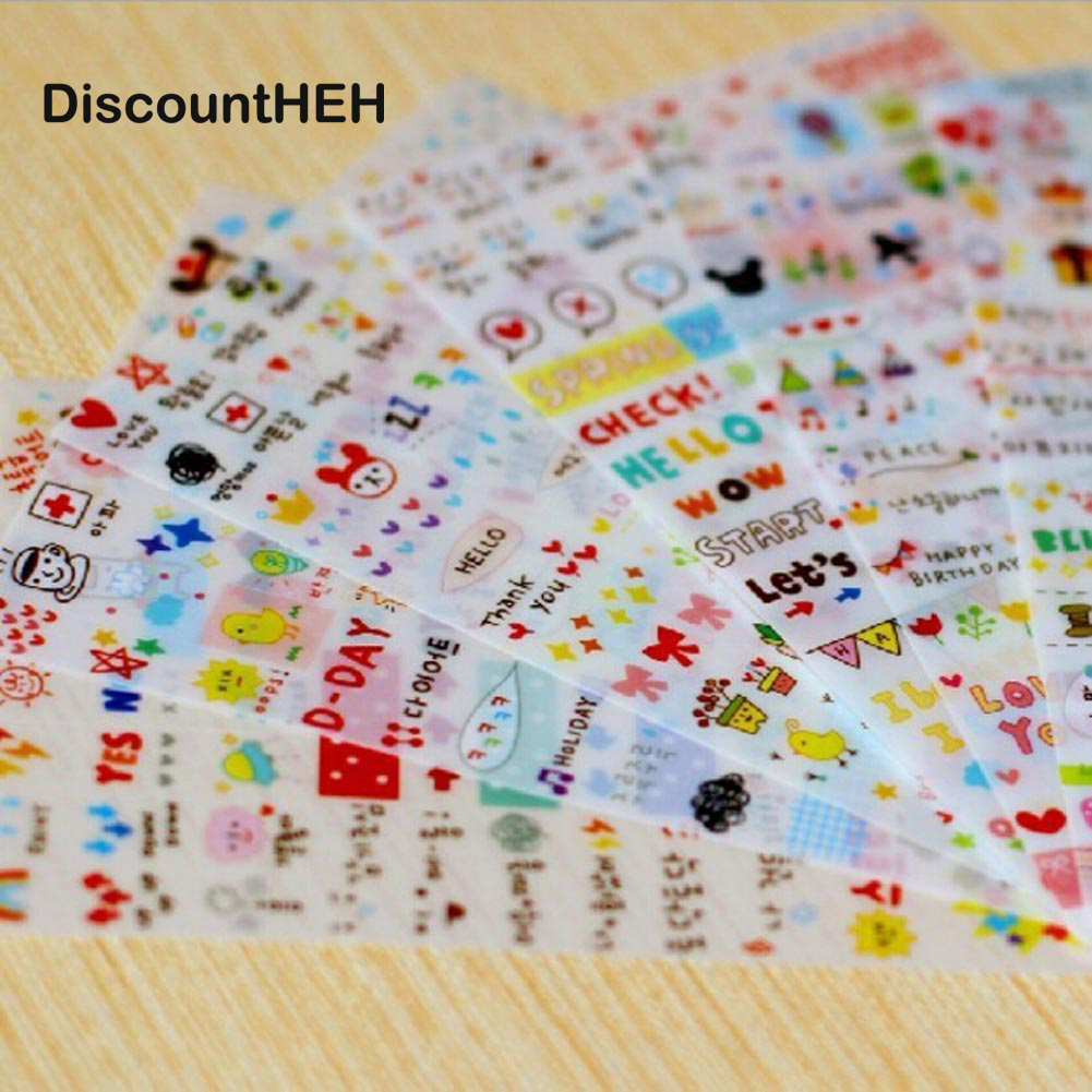6 Hojas / set Kawaii Cute Drawing Market Planner Papel Diario Deco - Blocs de notas y cuadernos