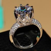 Fashion Jewelry 8ct Solitaire Luxury 925 Silver Big White Topaz Simulated Diamond Wedding Band Crown Ring