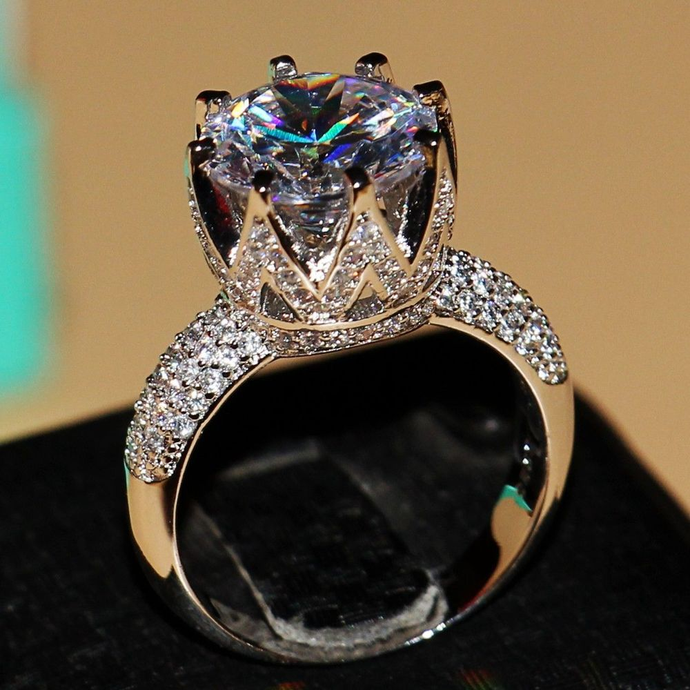 Fashion Jewelry 8ct Solitaire Luxury 925 Silver Big White 5a Cz Simulated  Stones Wedding Women Band