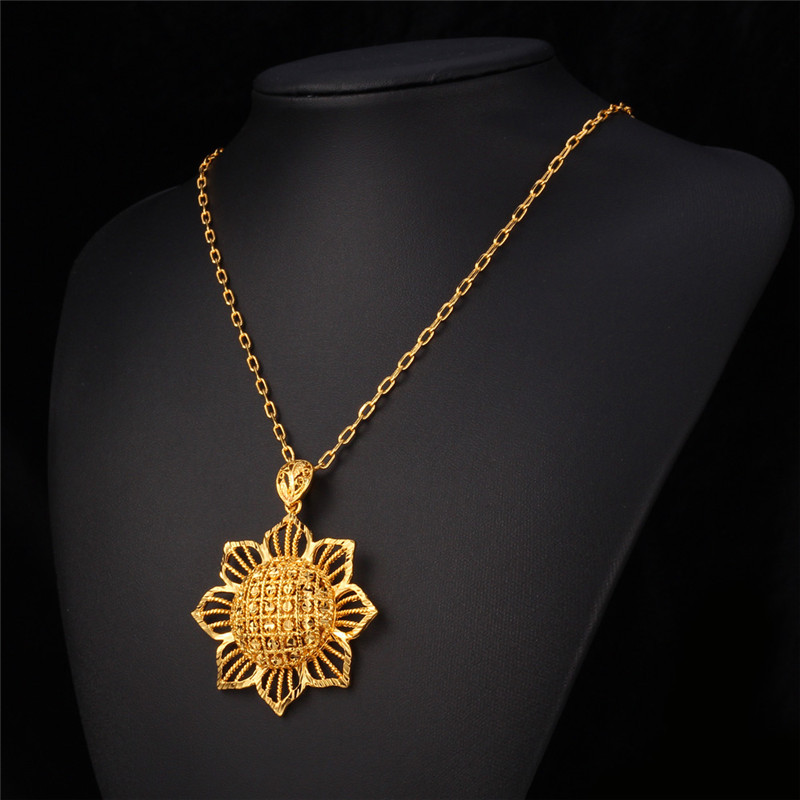 Collare hollow sunflower necklaces pendants gold color new big collare hollow sunflower necklaces pendants gold color new big bright flower pendant wholesale necklace women jewelry p595 in pendant necklaces from aloadofball Images