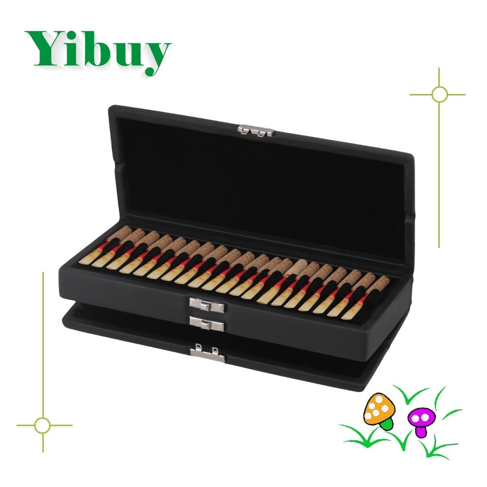 Yibuy Black PU Leather 2 Layers Oboe Reed Box Case Hold 40pcs Oboe Reed
