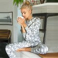 Casual Printed Tracksuit Women Long Sleeve O-Neck Sweatshirt + Pants 2 Piece Set Women Suits Two Piece Set Conjunto Feminino