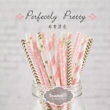 25 шт./лот, новые бумажные соломинки для детей, украшения на день рождения, свадьбу, вечеринку, рождественские принадлежности, креативные разноцветные