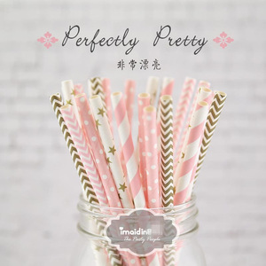 25pcs/lot New Paper Straws For Kids Birthday Wedding Decoration Event Party Christmas Supplies Creative Mixed Colors(China)