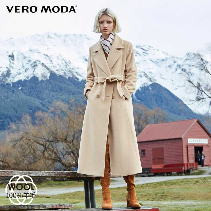 Vero Moda Women's 2019 new minimalist double-breasted 100% wool long woolen overcoat | 318427503