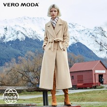 Vero Moda Women's 2019 new minimalist double-breasted 100% wool long woolen overcoat | 318427503(China)