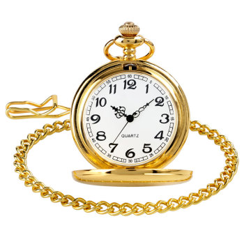 Golden Polished Stainless Steel Pocket Watch Continental-style Retro Fashion For Men And Women Gift Pocket Watch